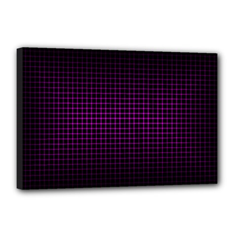 Optical Illusion Grid in Black and Neon Pink Canvas 18  x 12