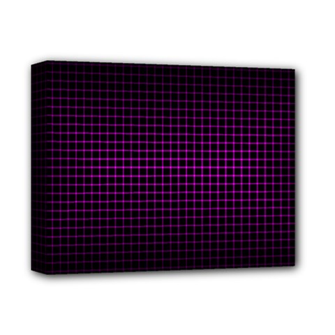 Optical Illusion Grid in Black and Neon Pink Deluxe Canvas 14  x 11