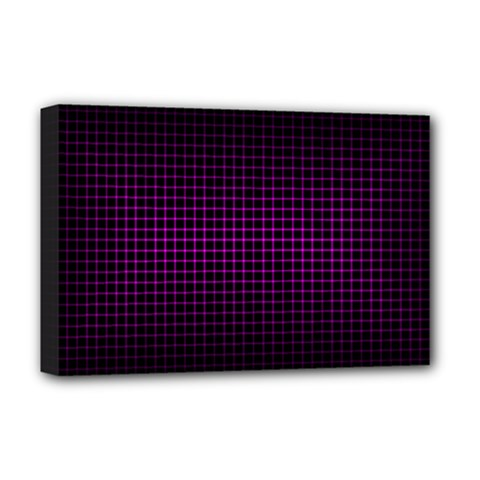 Optical Illusion Grid in Black and Neon Pink Deluxe Canvas 18  x 12