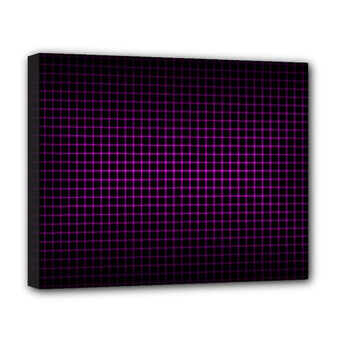 Optical Illusion Grid in Black and Neon Pink Deluxe Canvas 20  x 16