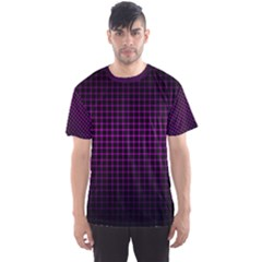 Optical Illusion Grid in Black and Neon Pink Men s Sports Mesh Tee