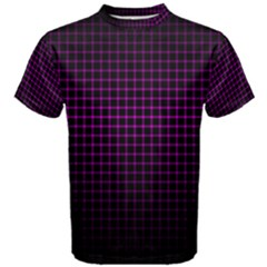 Optical Illusion Grid in Black and Neon Pink Men s Cotton Tee