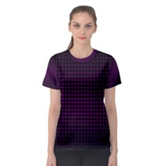 Optical Illusion Grid in Black and Neon Pink Women s Sport Mesh Tee