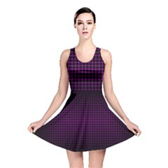 Optical Illusion Grid in Black and Neon Pink Reversible Skater Dress