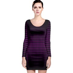 Optical Illusion Grid In Black And Neon Pink Long Sleeve Bodycon Dress
