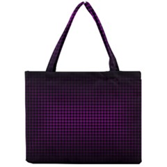 Optical Illusion Grid in Black and Neon Pink Mini Tote Bag
