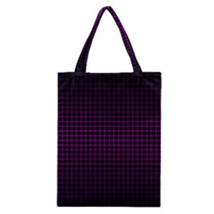 Optical Illusion Grid in Black and Neon Pink Classic Tote Bag