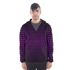 Optical Illusion Grid in Black and Neon Pink Hooded Wind Breaker (Men)