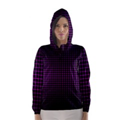 Optical Illusion Grid in Black and Neon Pink Hooded Wind Breaker (Women)