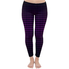 Optical Illusion Grid in Black and Neon Pink Classic Winter Leggings