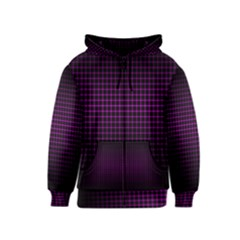 Optical Illusion Grid in Black and Neon Pink Kids  Zipper Hoodie