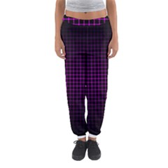 Optical Illusion Grid in Black and Neon Pink Women s Jogger Sweatpants