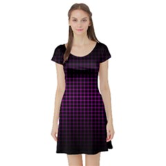 Optical Illusion Grid in Black and Neon Pink Short Sleeve Skater Dress