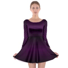 Optical Illusion Grid in Black and Neon Pink Long Sleeve Skater Dress
