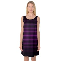 Optical Illusion Grid in Black and Neon Pink Sleeveless Satin Nightdress
