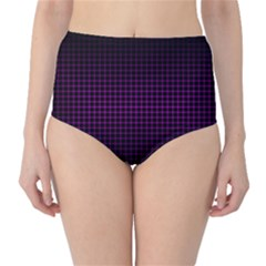 Optical Illusion Grid in Black and Neon Pink High-Waist Bikini Bottoms