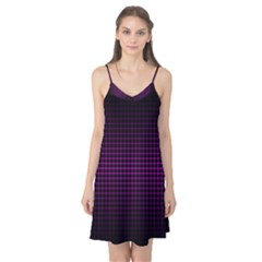 Optical Illusion Grid in Black and Neon Pink Camis Nightgown