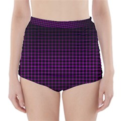 Optical Illusion Grid in Black and Neon Pink High-Waisted Bikini Bottoms