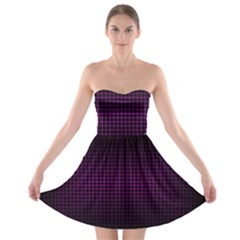 Optical Illusion Grid in Black and Neon Pink Strapless Bra Top Dress