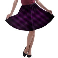 Optical Illusion Grid in Black and Neon Pink A-line Skater Skirt