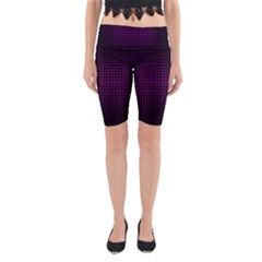 Optical Illusion Grid in Black and Neon Pink Yoga Cropped Leggings