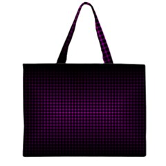 Optical Illusion Grid in Black and Neon Pink Large Tote Bag