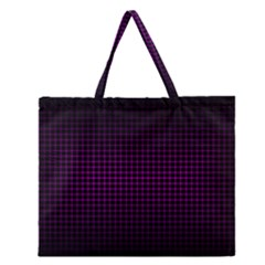 Optical Illusion Grid in Black and Neon Pink Zipper Large Tote Bag