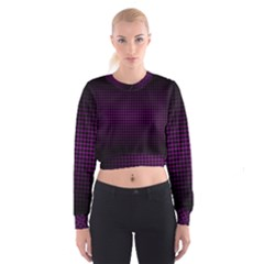 Optical Illusion Grid in Black and Neon Pink Cropped Sweatshirt