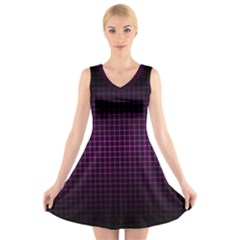 Optical Illusion Grid in Black and Neon Pink V-Neck Sleeveless Skater Dress