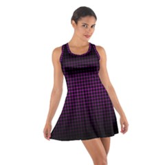 Optical Illusion Grid in Black and Neon Pink Cotton Racerback Dress