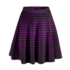 Optical Illusion Grid in Black and Neon Pink High Waist Skirt