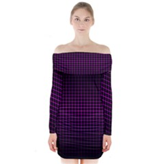 Optical Illusion Grid in Black and Neon Pink Long Sleeve Off Shoulder Dress
