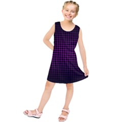 Optical Illusion Grid in Black and Neon Pink Kids  Tunic Dress