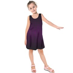 Optical Illusion Grid in Black and Neon Pink Kids  Sleeveless Dress