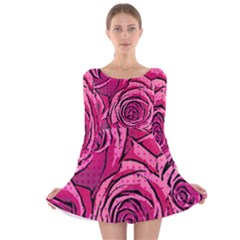 pop art roses Long Sleeve Velvet Skater Dress