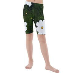 Daisies In Green Kids  Mid Length Swim Shorts