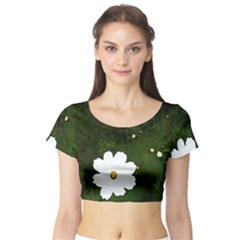 Daisies In Green Short Sleeve Crop Top (Tight Fit)