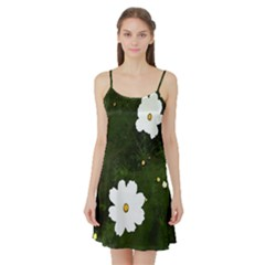 Daisies In Green Satin Night Slip