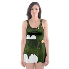 Daisies In Green Skater Dress Swimsuit