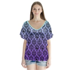 Haunted Mansion V Neck Flutter Sleeve Top