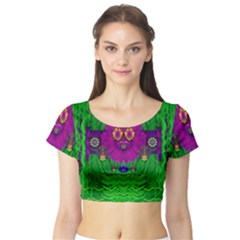 Summer Flower Girl With Pandas Dancing In The Green Short Sleeve Crop Top (Tight Fit)