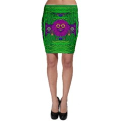 Summer Flower Girl With Pandas Dancing In The Green Bodycon Skirt