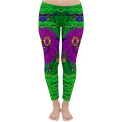 Summer Flower Girl With Pandas Dancing In The Green Classic Winter Leggings