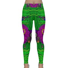 Summer Flower Girl With Pandas Dancing In The Green Classic Yoga Leggings