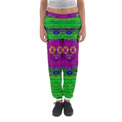 Summer Flower Girl With Pandas Dancing In The Green Women s Jogger Sweatpants