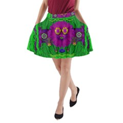 Summer Flower Girl With Pandas Dancing In The Green A-Line Pocket Skirt