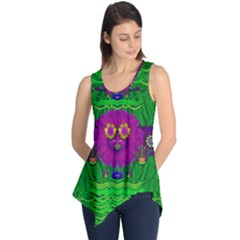Summer Flower Girl With Pandas Dancing In The Green Sleeveless Tunic