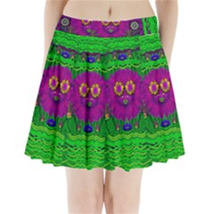 Summer Flower Girl With Pandas Dancing In The Green Pleated Mini Skirt