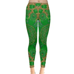 Summer Landscape In Green And Gold Leggings