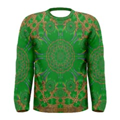 Summer Landscape In Green And Gold Men s Long Sleeve Tee